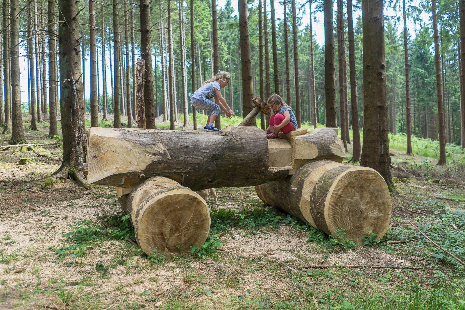Traktor aus holz Bergneustadt Wald bergisches Land