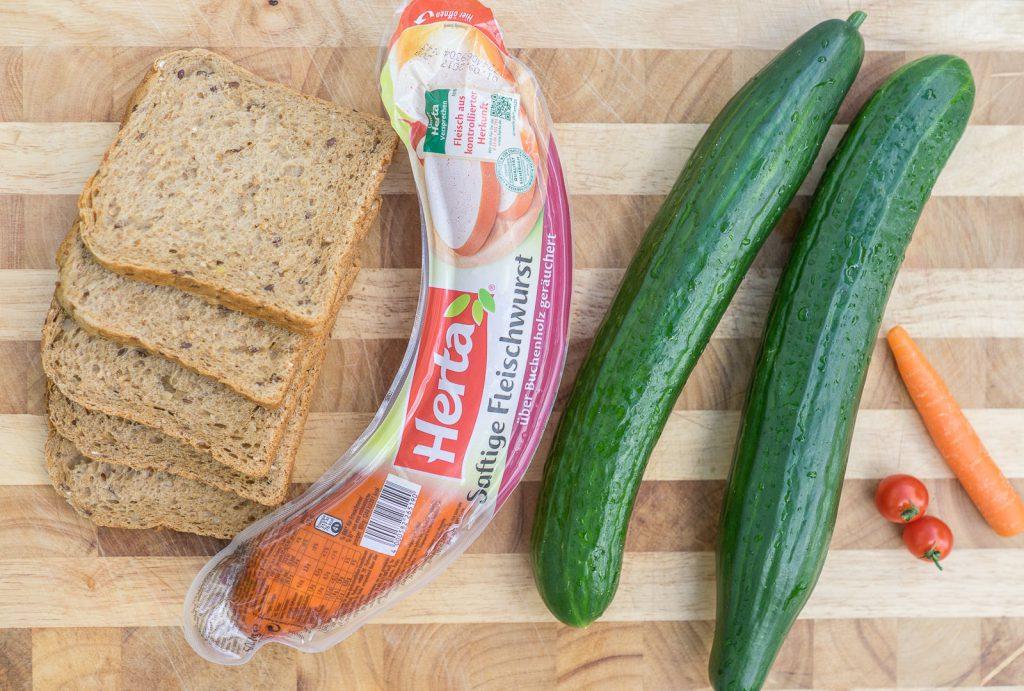 zutaten gurken sandwich schlange