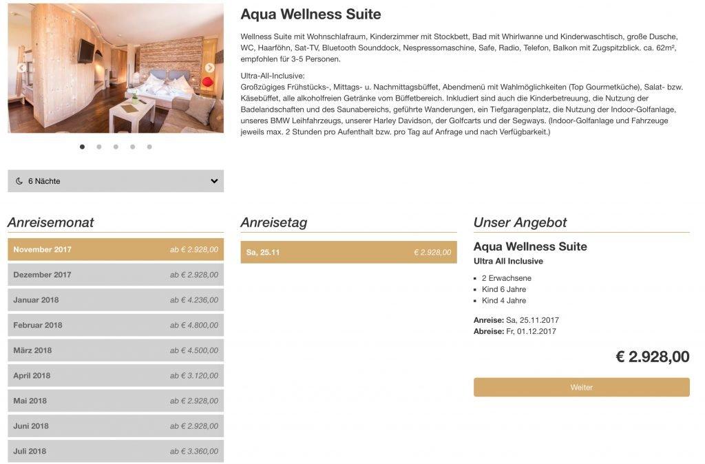 aqua wellness suite alpenrose kosten