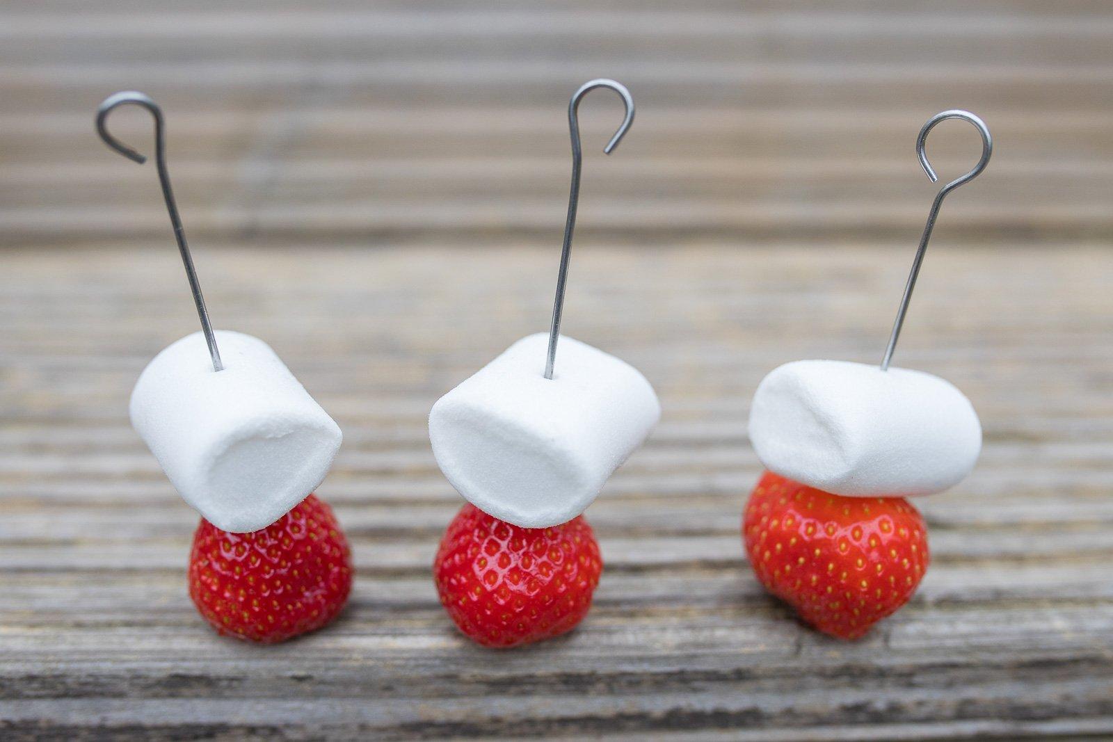 gegrillte marshmallow Erdbeeren grill