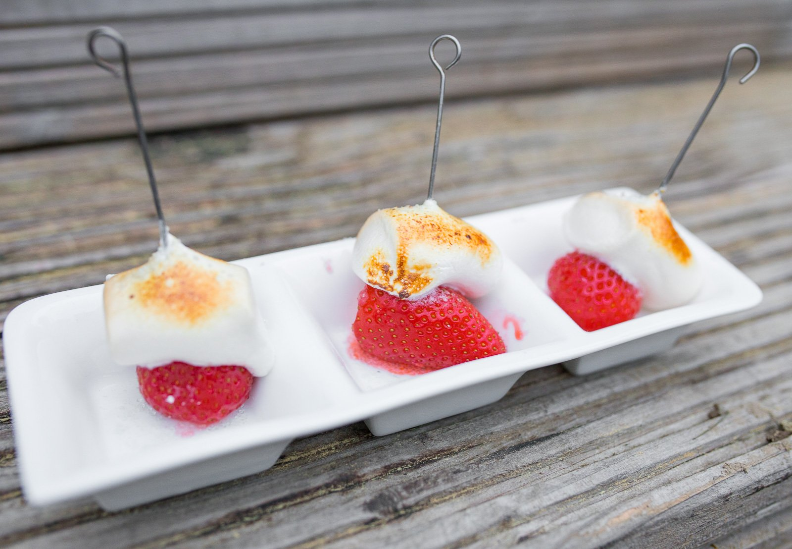 gegrillte marshmallow Erdbeeren rezept